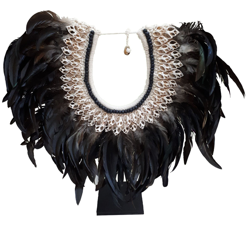 Black Feather and Shell Necklace