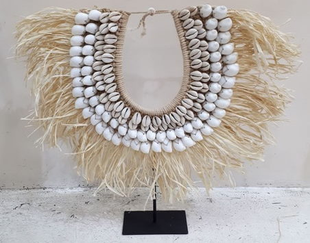 Raffia and Shell Necklace