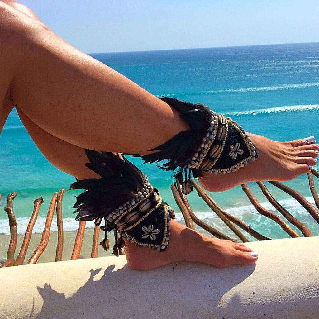 Spectacular Black Ibiza Style Ankle Cuffs