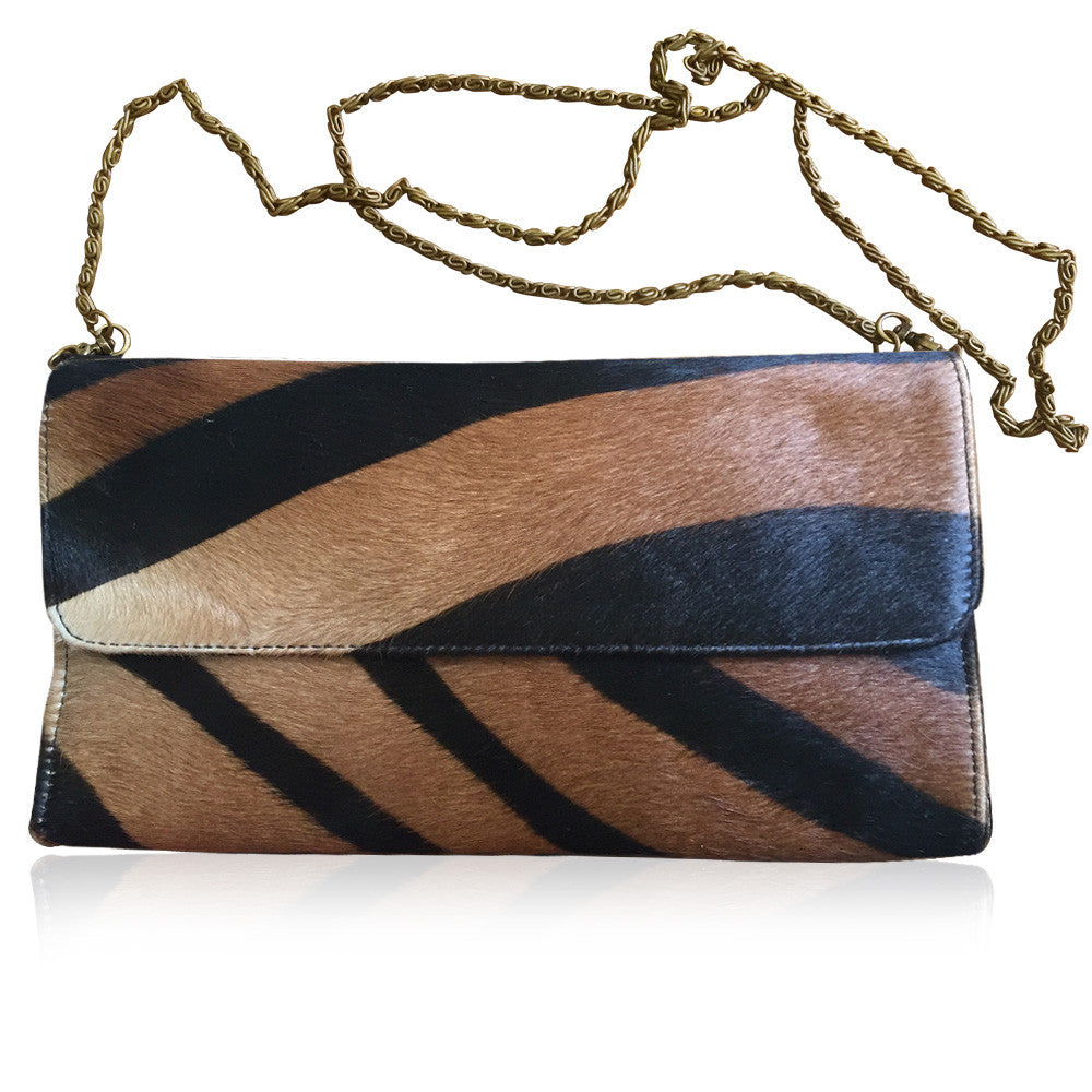 Printed Cow Hide Shoulder Bag/Clutch with metal chain strap