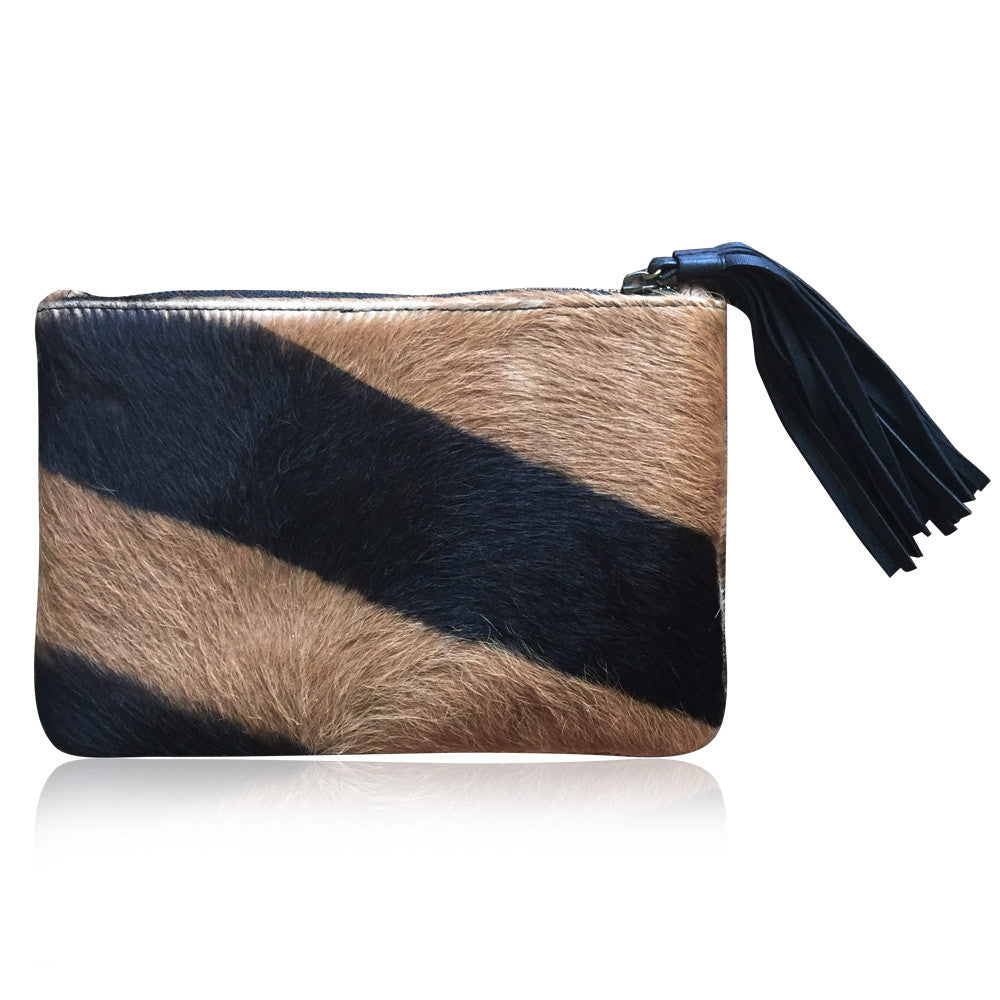 Printed Cow Hide Clutch Bags with Leather Tassel