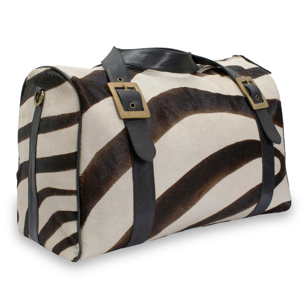 Printed Cow Hide overnight travel bag with shoulder strap. Cabin Baggage size.