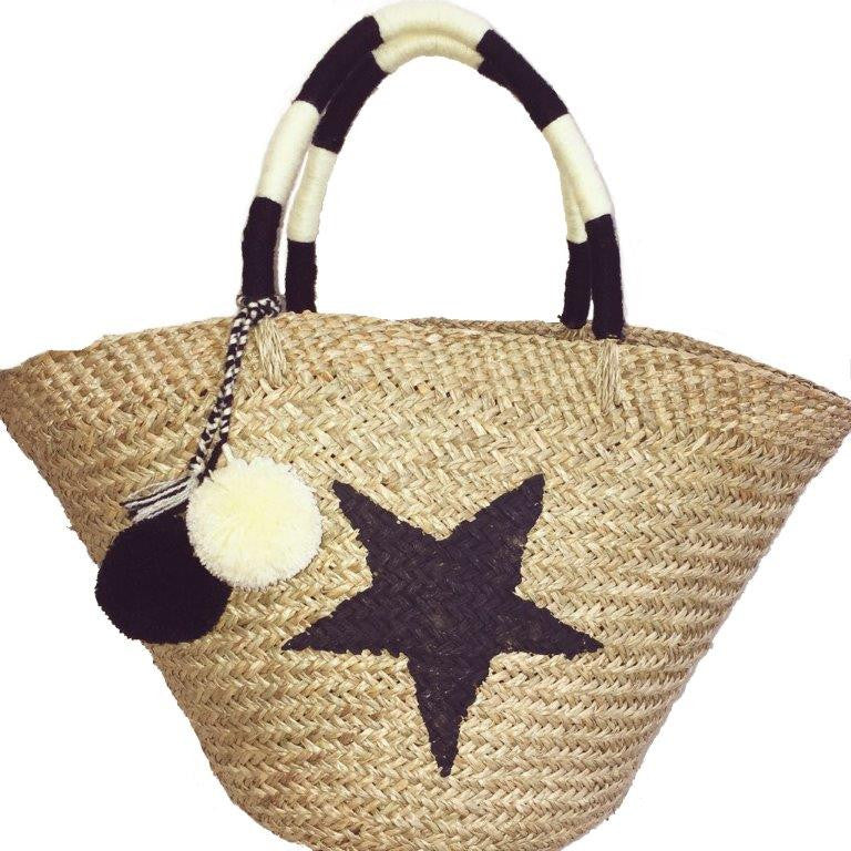St.Barts Large Basket - Sea-Grass and Pom Pom
