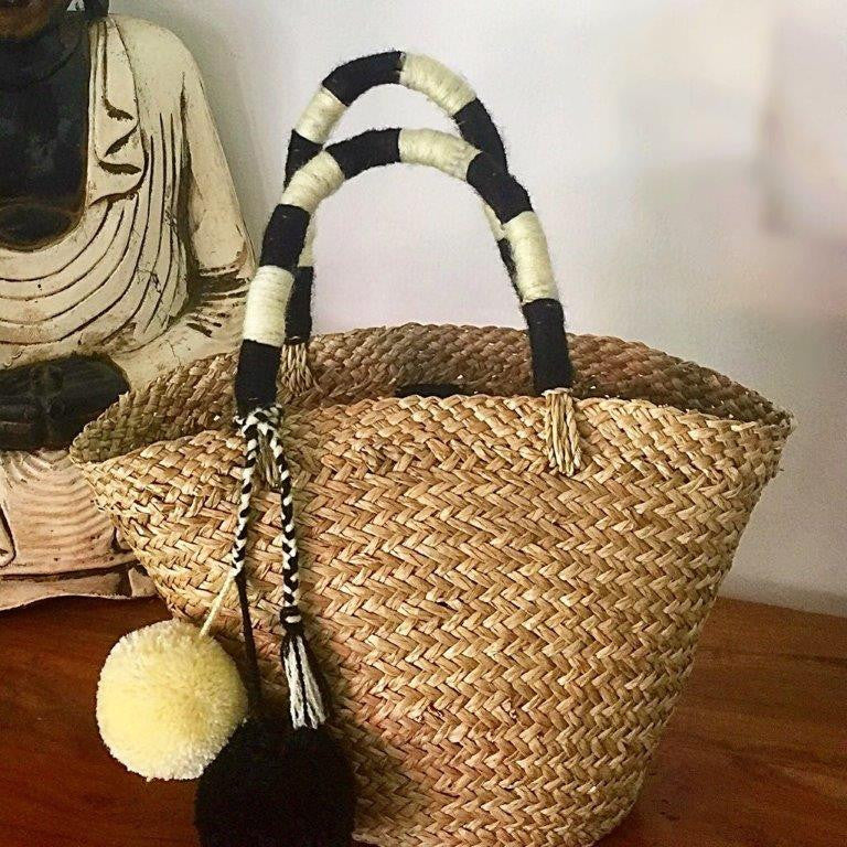 St.Barts Small Basket - Sea-Grass and Pom Pom