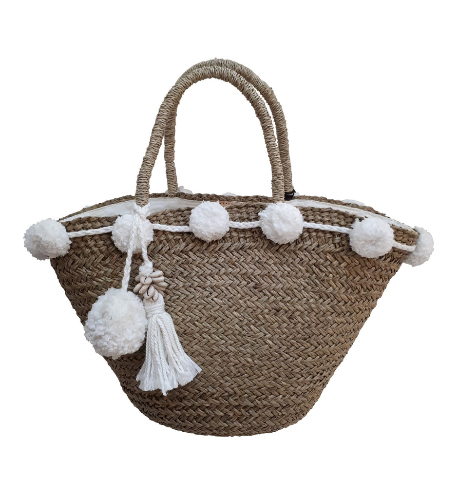 Beach Chic Pom Pom Basket