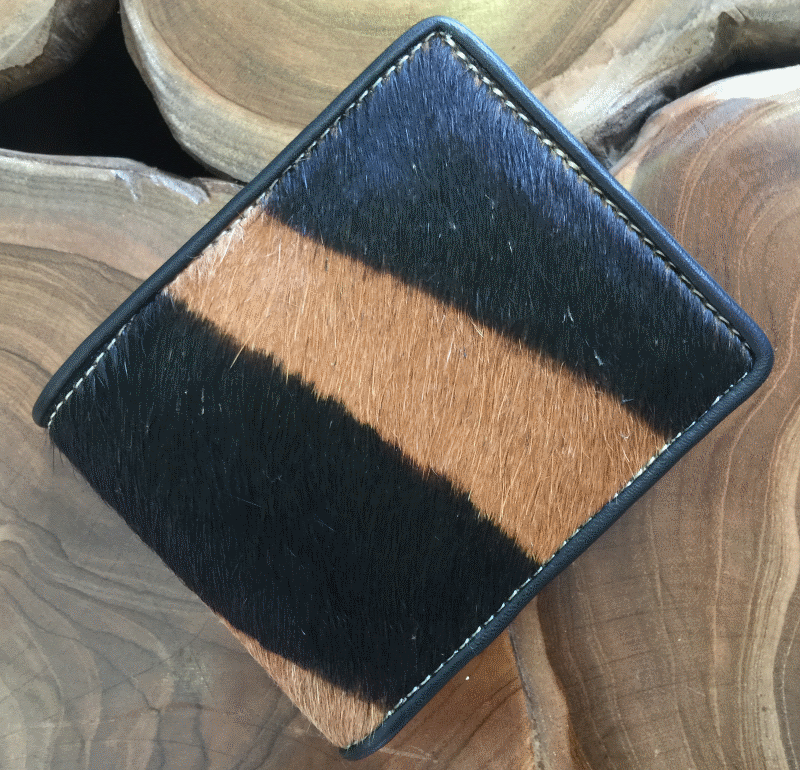 Printed Cow Hide Wallets with Leather lining and 6 credit card holders