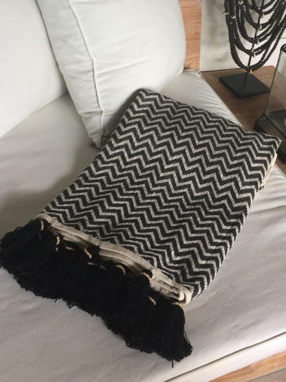 Black and Cream Cotton Blanket