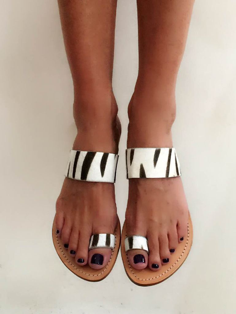 Cow Hide Printed Sandals Black & White - please check your size as explained in the description