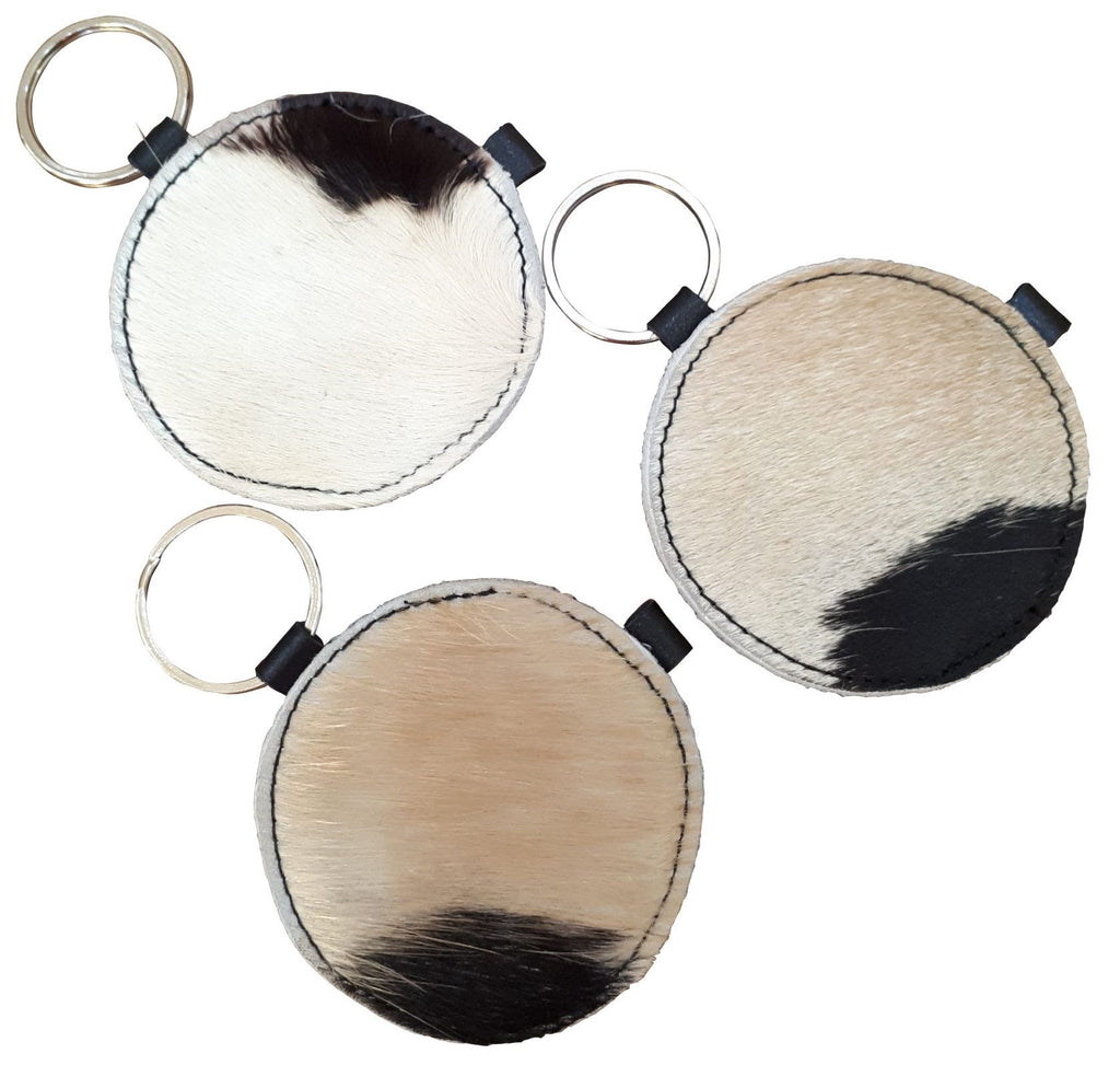 Cow Hide Round Key Ring