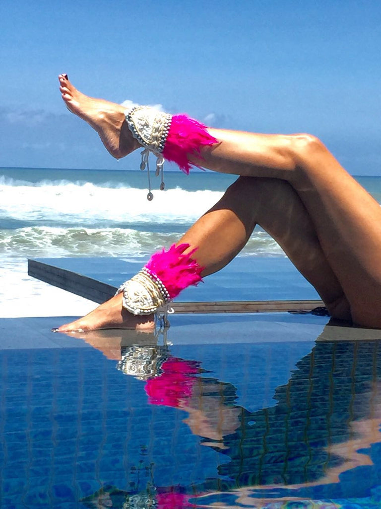 Spectacular Hot Pink Ibiza Style Ankle Cuffs