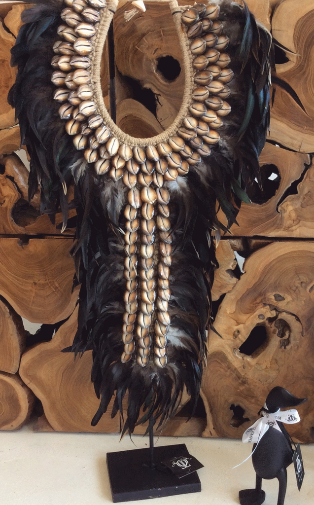 Blessed Dark Cowrie Shell and Black Feather Tribal Necklace