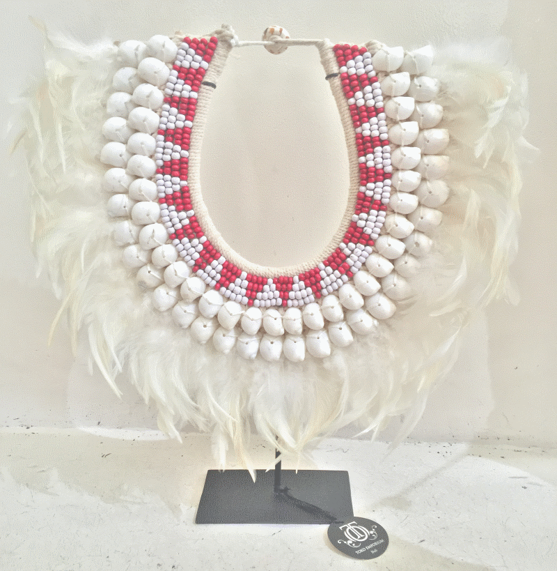Fun Shell and Feather Necklace in red and white