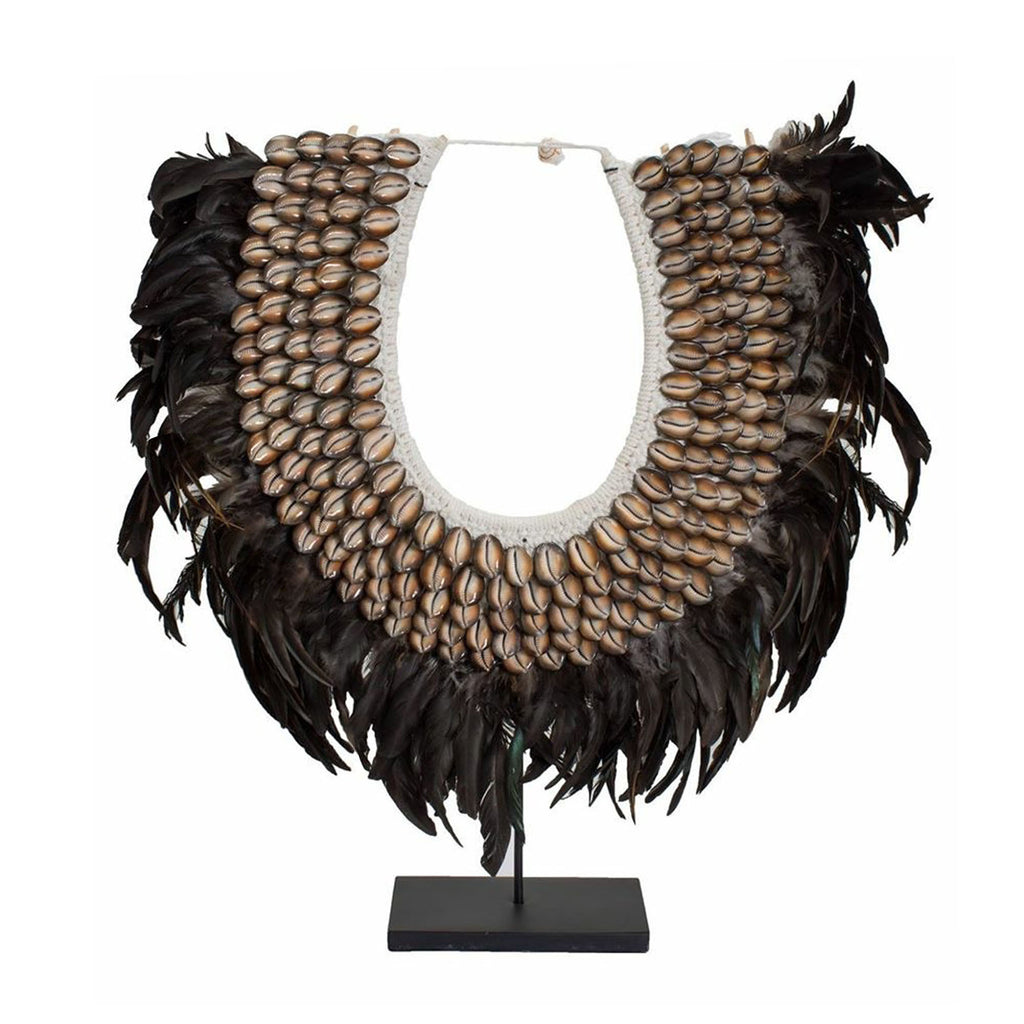 Fun Large Shell & Feather Tribal Necklace