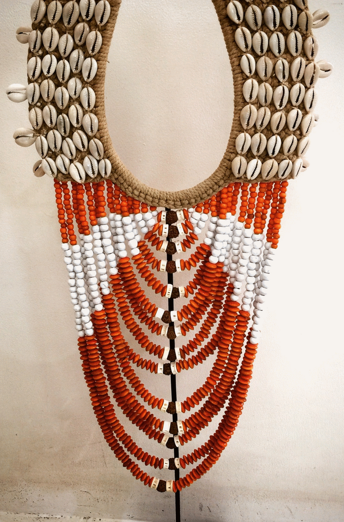 New Life Shell & Beaded Tribal Necklace - Tangerine