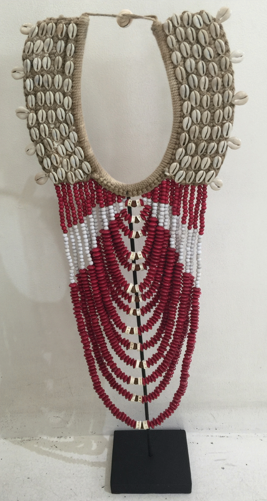 New Life Shell & Beaded Tribal Necklace - Red