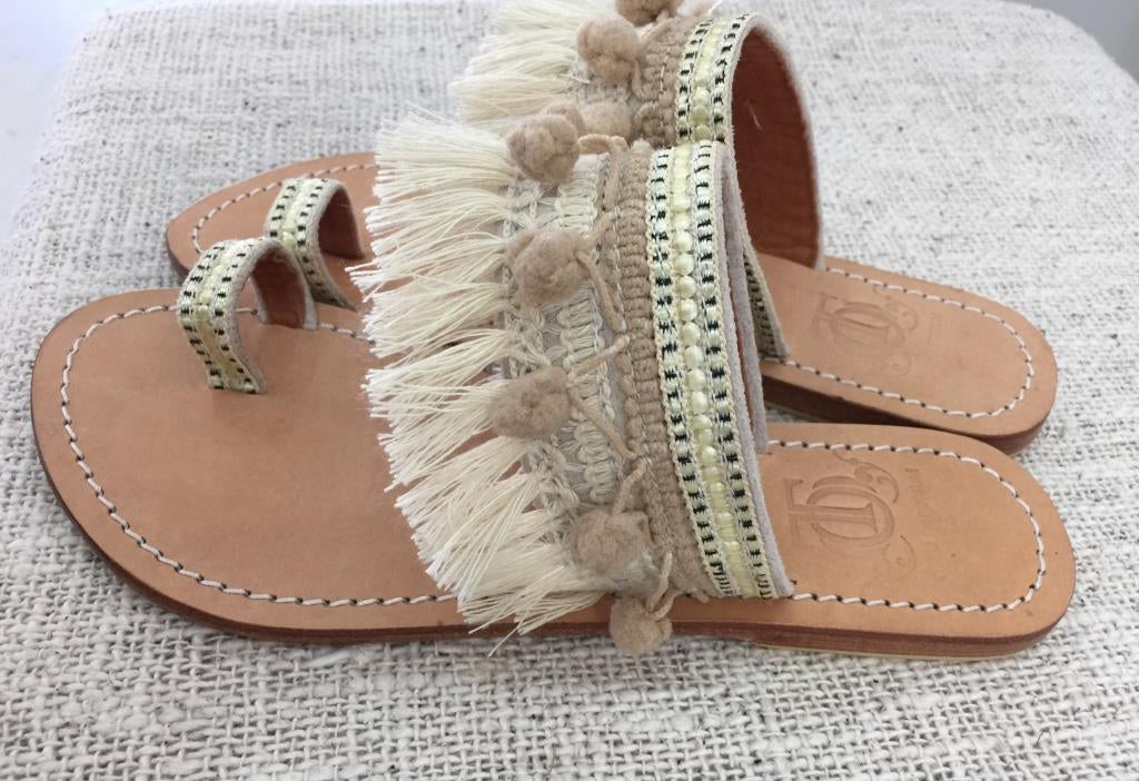 Fringe Pom Pom Sandals with Full-Grain Leather Sole - Please check your size as explained in the description