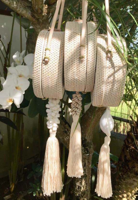 Rattan Bag - Whitewashed Shell Rattan Bag - Natural