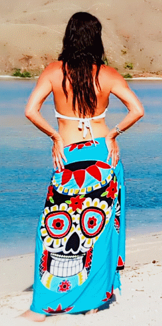 Sugar Candy Skull Beach Sarong - Blue