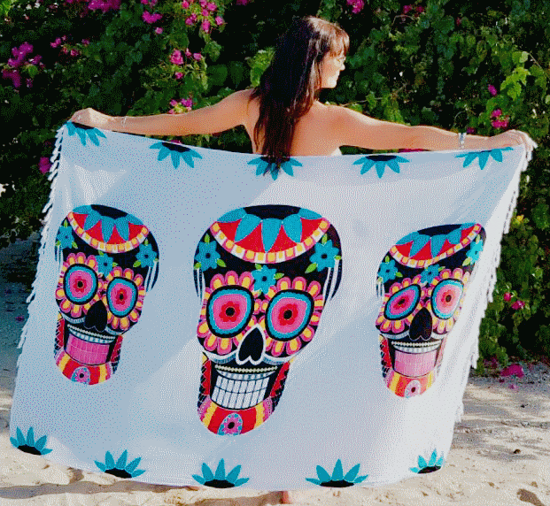 Sugar Candy Skull Beach Sarong - White