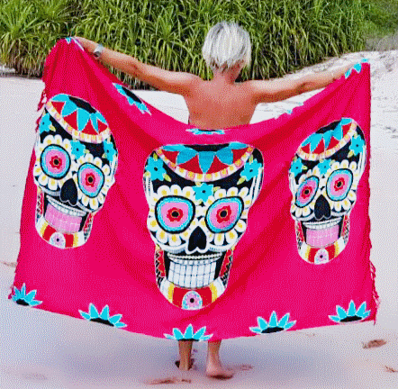 Sugar Candy Skull Beach Sarong - Hot Pink