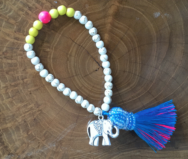 Super Cute Bracelet with Beaded Crown and Little Elephant