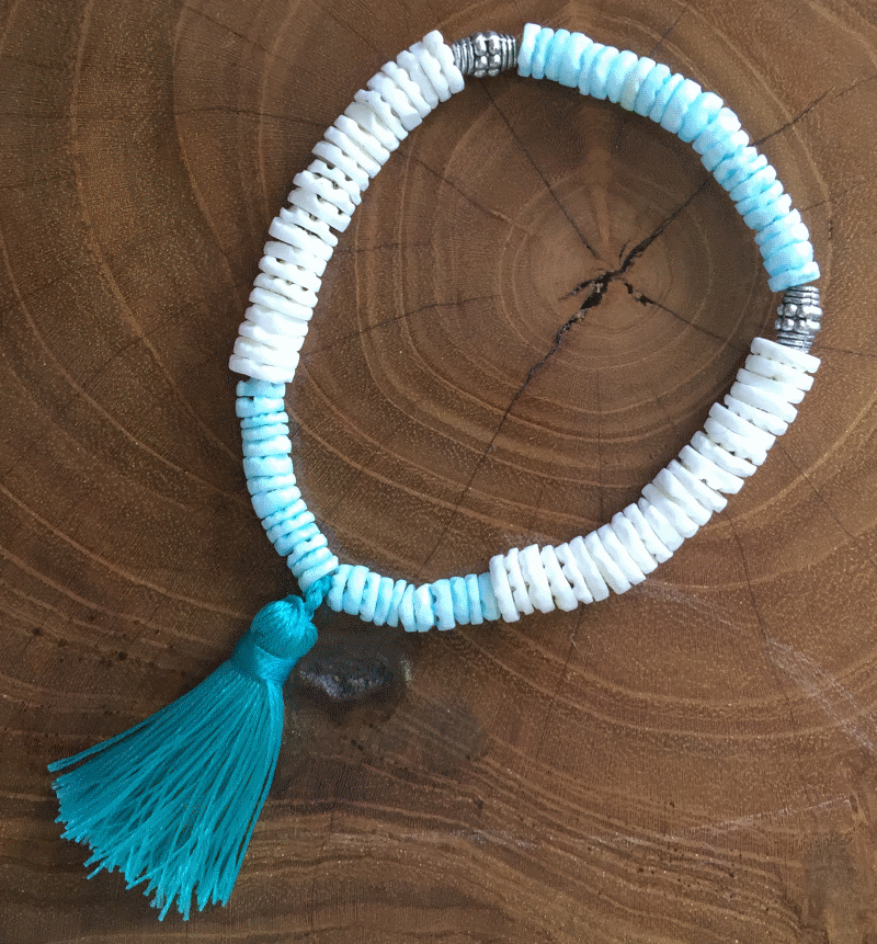 Shell Two Tone Bracelet with Tassel