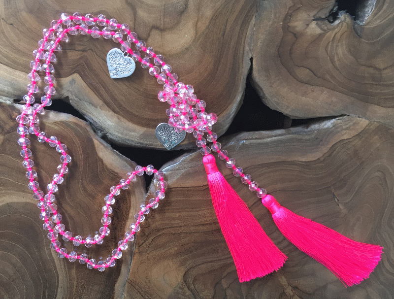 Crystal Beaded Necklace with Featuring Double Tassel