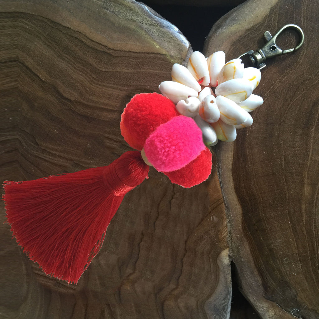 Pom Poms Shells Key Ring or Bag Accessory