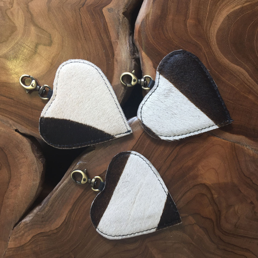 Cow Hide Heart Key Ring or Bag Accessory