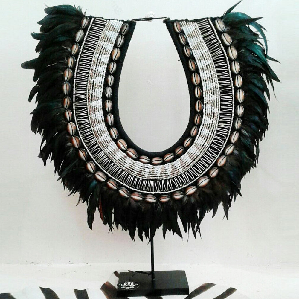 Love Large - Stunning Shell Bead and Feather Tribal Necklace