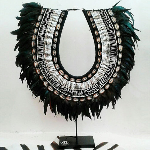 Love Large Stunning Shell Bead And Feather Tribal