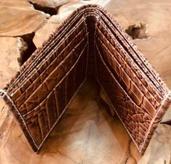 Pressed Cow Hide Wallet in Crocodile Print