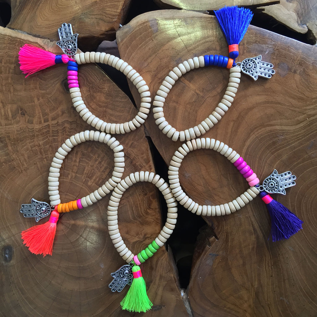 Wooden Beaded Bracelet with Hamsa Hand and Tassel