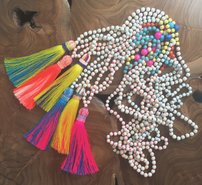 Colourful Beaded Necklace with Crown & Two Tone Tassel