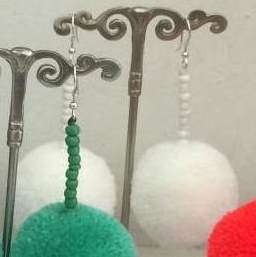 Drop Pom Pom Earrings in Blue, Mint, Orange, Pink and White