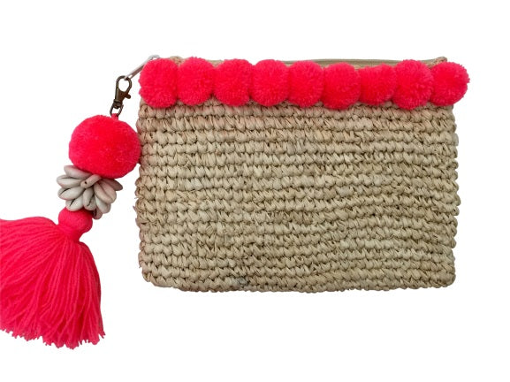 Raffia Pom Pom Clutch - Neon Orange