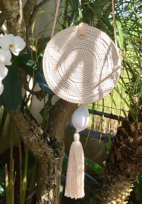Rattan Bag - Rattan whitewashed bag with large White Shell