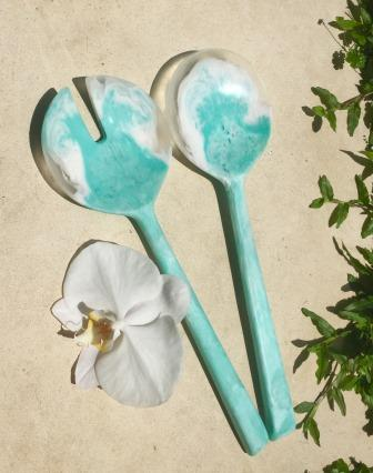 Stunning Hand-Poured Resin Salad Servers