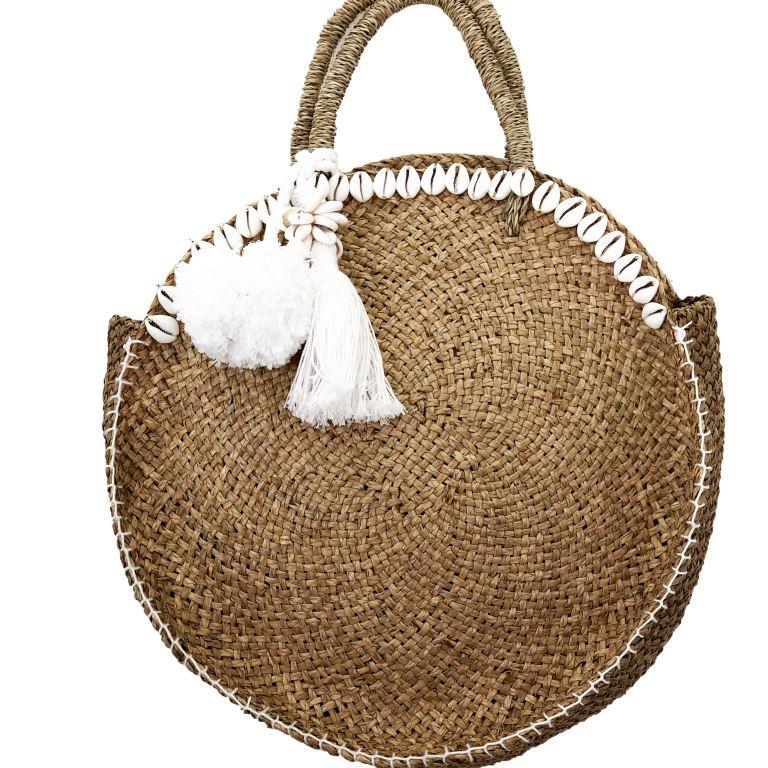 Round Sea-Grass Pom Pom Bag - Natural