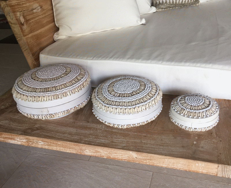 Round Shell & Bead Boxes in a set of 3 - White