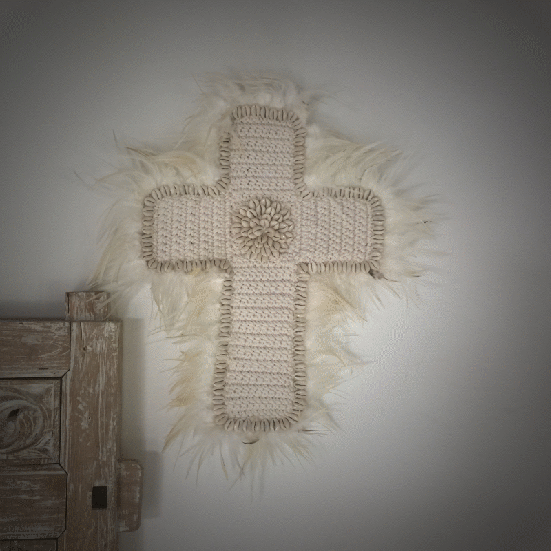 Feather & Shell Cross - White