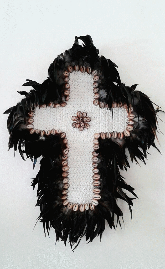 Feather & Shell Cross - Black