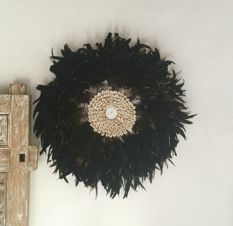 Feather & Shell Wall Hanging brown and black feathers