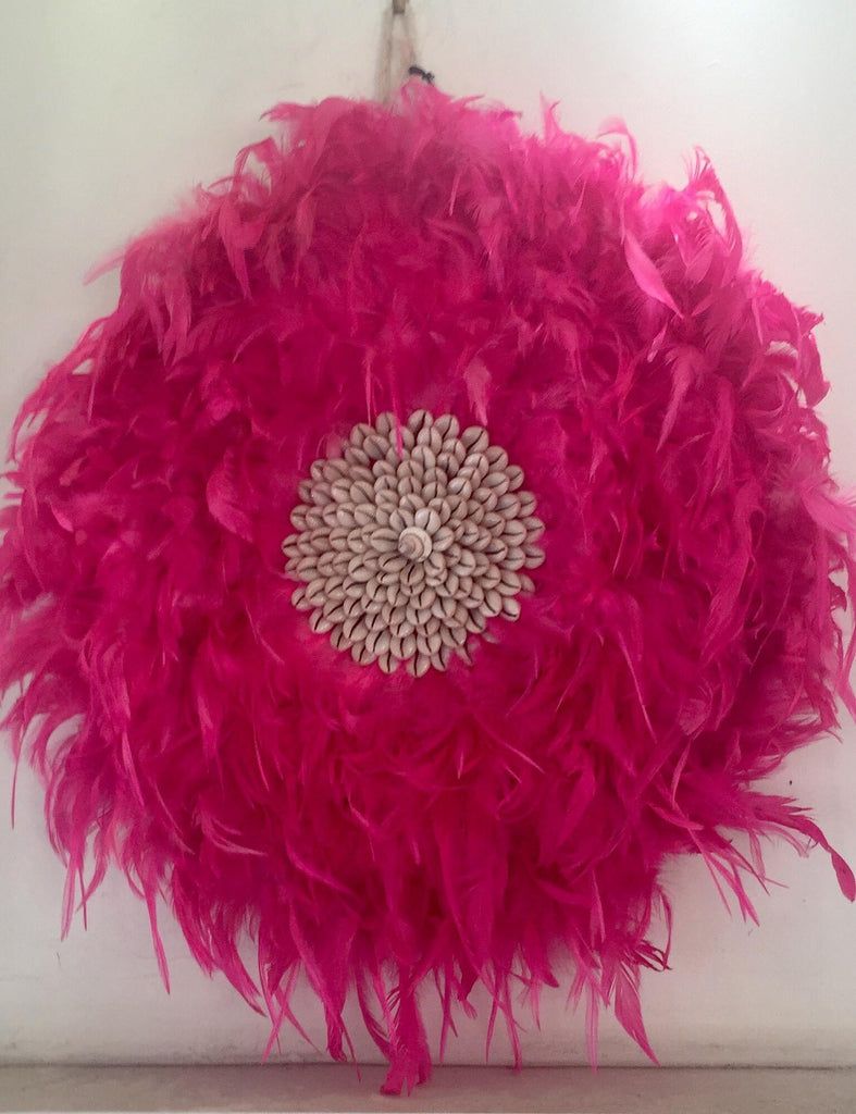 Feather and Shell Juju with Crochet Back in White, Brown or Pink