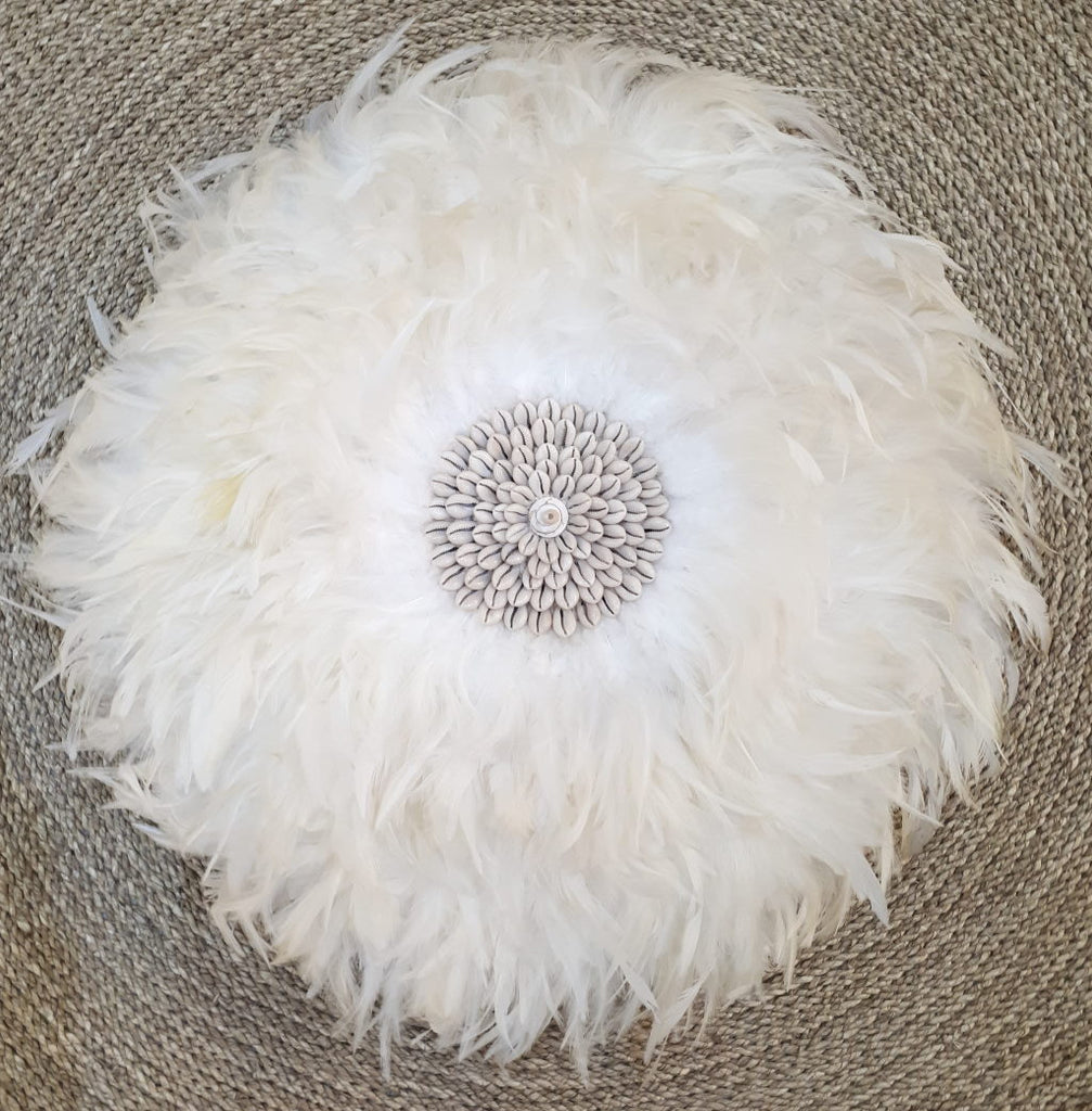 White Feather And Shell Juju With Crochet Back