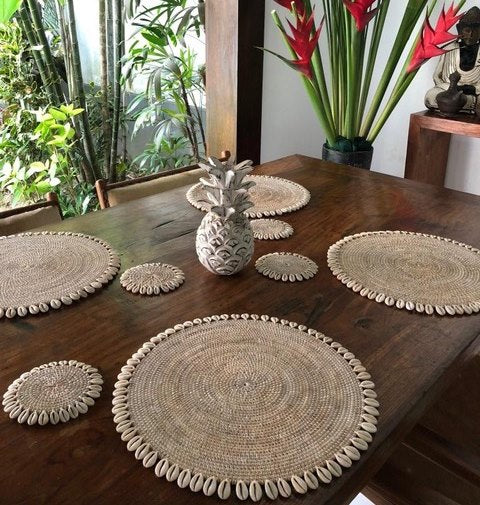Rattan Coaster with Shell - Whitewashed