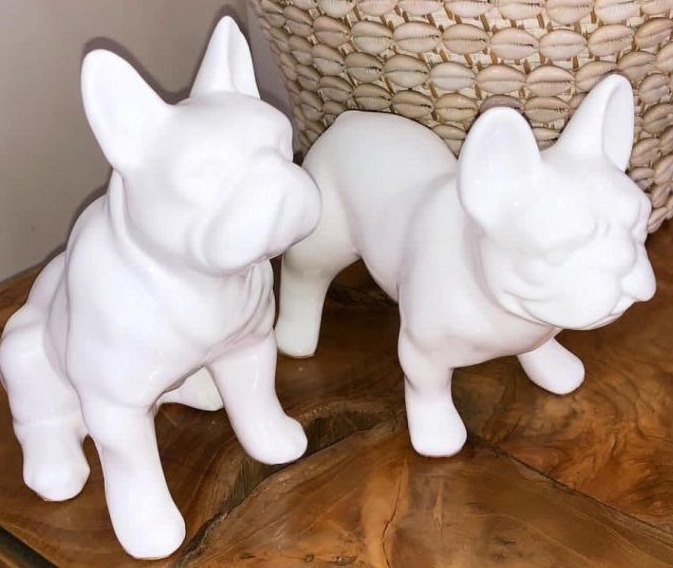 Resin Bulldog - Black, White or Red - Sitting or Standing