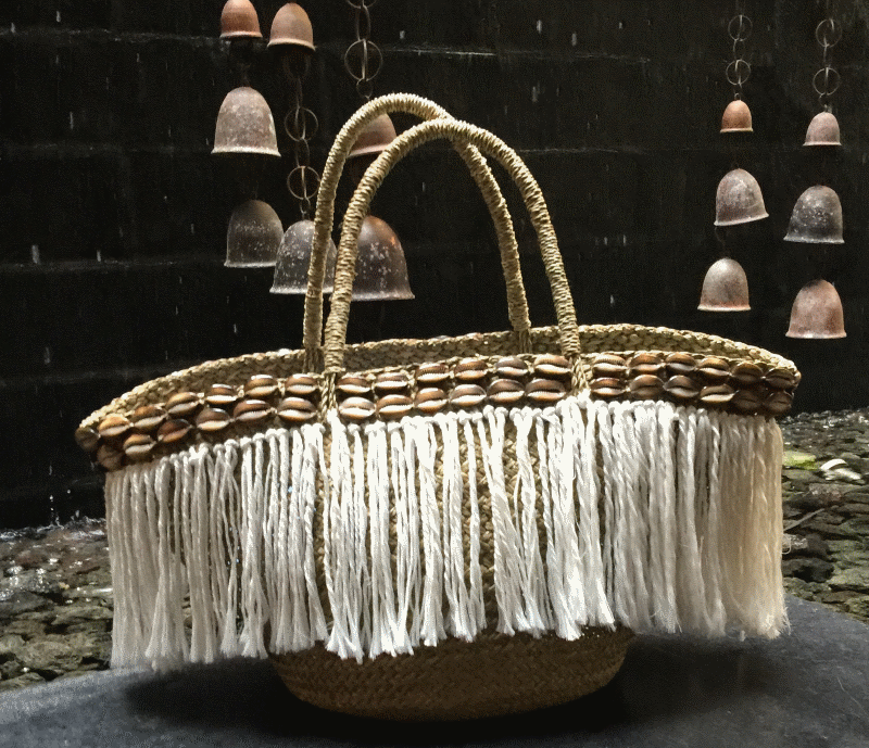 Get the Ibiza Look with this gorgous shell fringed basket