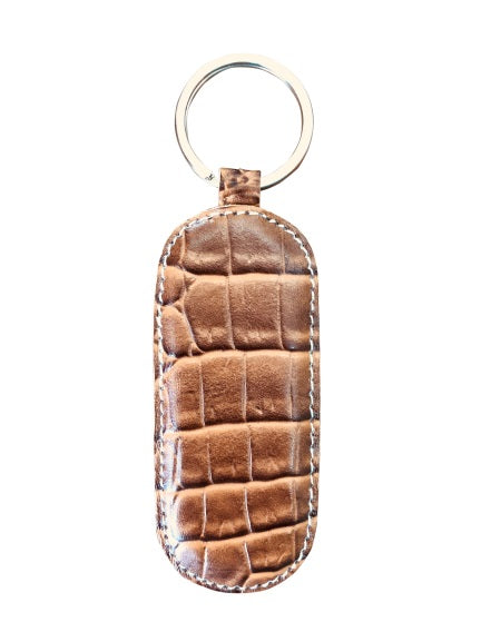 Cow Hide Leather Key Ring Pressed With Crocodile Motif