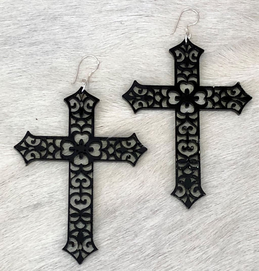 Filigree Acrylic Cross Earring